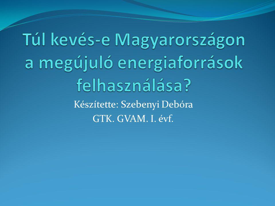 Célkitűzés: Megállapítani, hogy Magyarországon az adottságokhoz képest sok vagy kevés megújuló energiaforrást hasznosítunk- e fel.