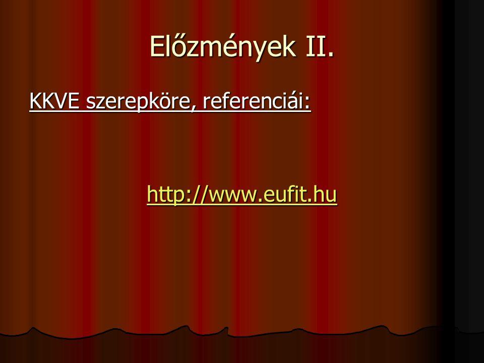 Előzmények II. KKVE szerepköre, referenciái: http://www.eufit.hu