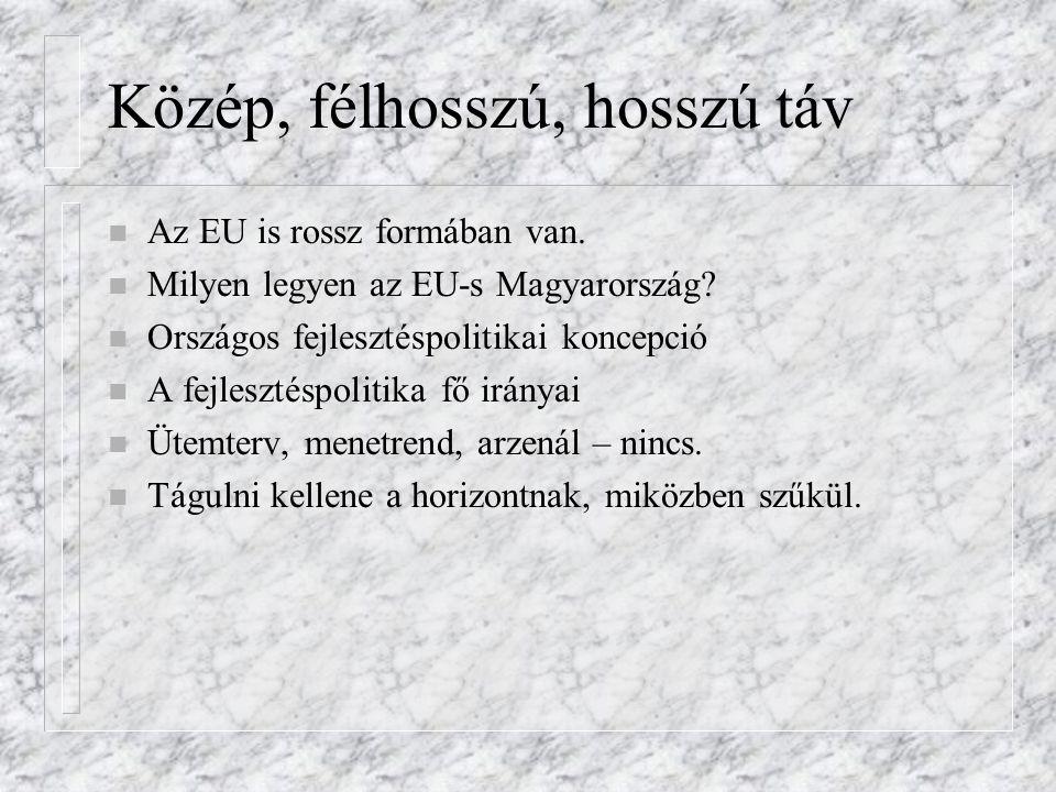 Közép, félhosszú, hosszú táv n Az EU is rossz formában van. n Milyen legyen az EU-s Magyarország? n Országos fejlesztéspolitikai koncepció n A fejlesz