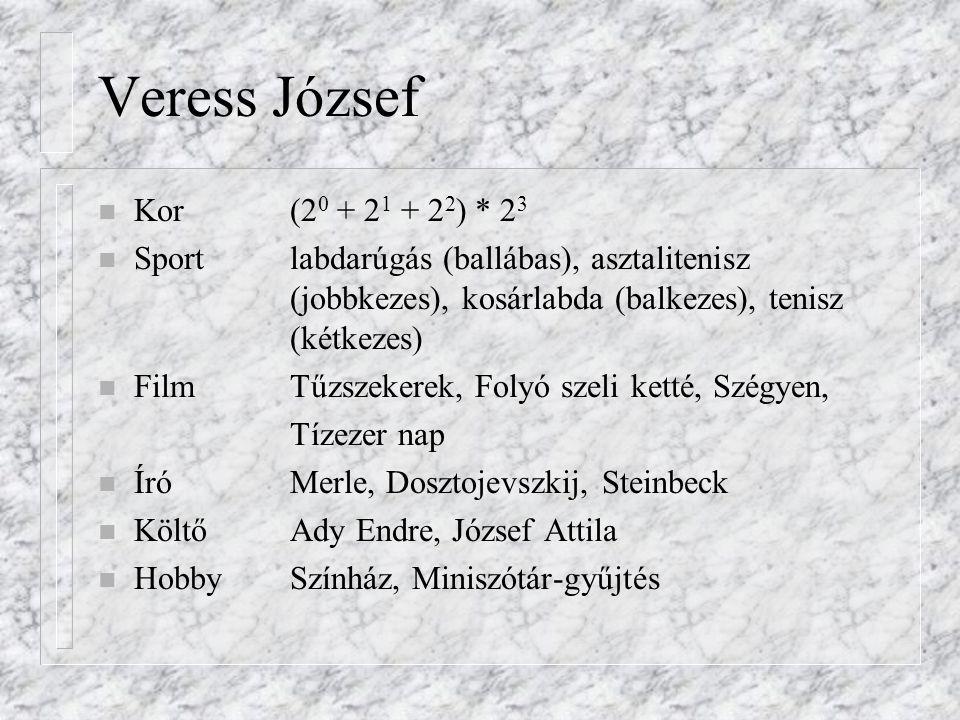 Veress József n Kor(2 0 + 2 1 + 2 2 ) * 2 3 n Sportlabdarúgás (ballábas), asztalitenisz (jobbkezes), kosárlabda (balkezes), tenisz (kétkezes) n FilmTű
