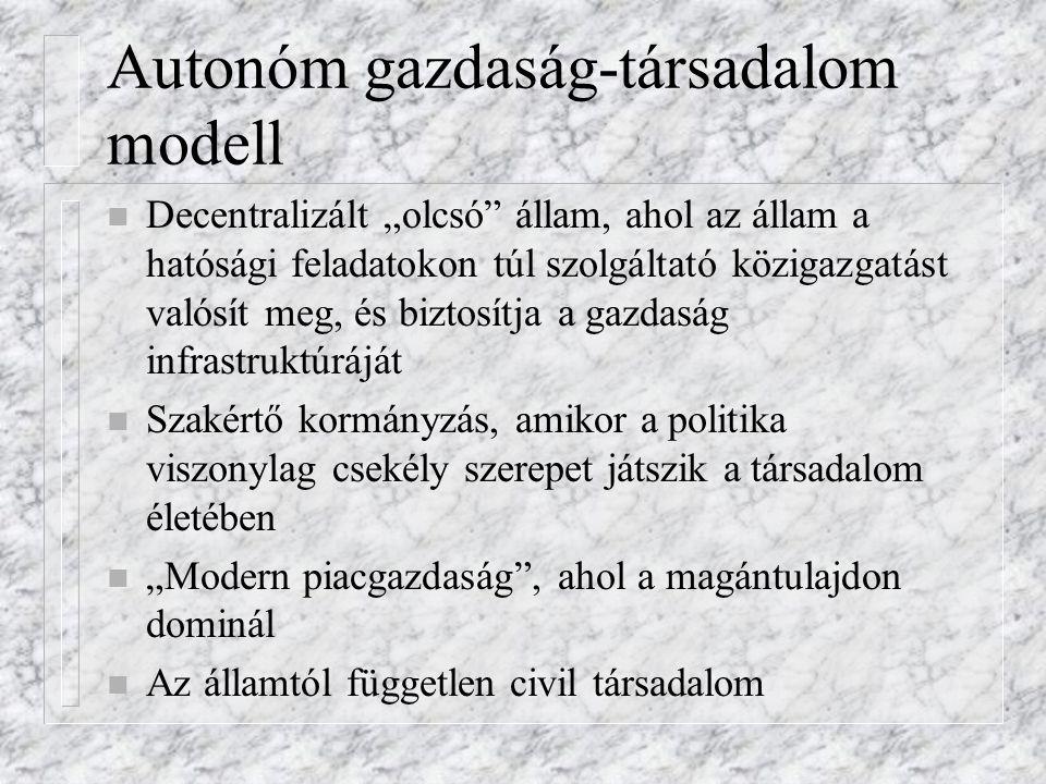 """Autonóm gazdaság-társadalom modell n Decentralizált """"olcsó"""" állam, ahol az állam a hatósági feladatokon túl szolgáltató közigazgatást valósít meg, és"""