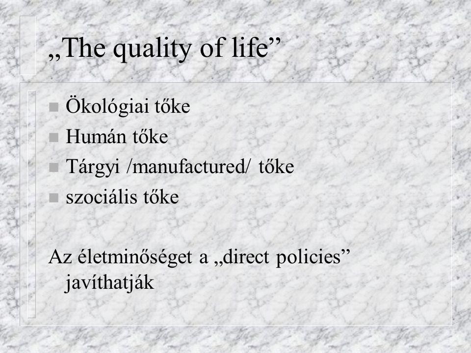 """""""The quality of life"""" n Ökológiai tőke n Humán tőke n Tárgyi /manufactured/ tőke n szociális tőke Az életminőséget a """"direct policies"""" javíthatják"""