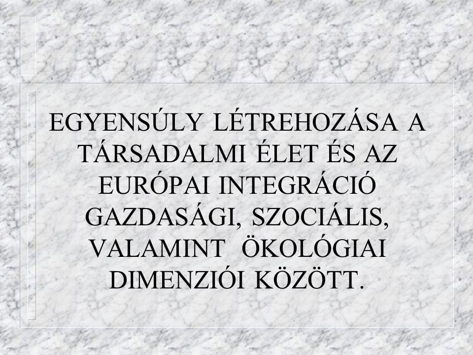 EGYENSÚLY LÉTREHOZÁSA A TÁRSADALMI ÉLET ÉS AZ EURÓPAI INTEGRÁCIÓ GAZDASÁGI, SZOCIÁLIS, VALAMINT ÖKOLÓGIAI DIMENZIÓI KÖZÖTT.