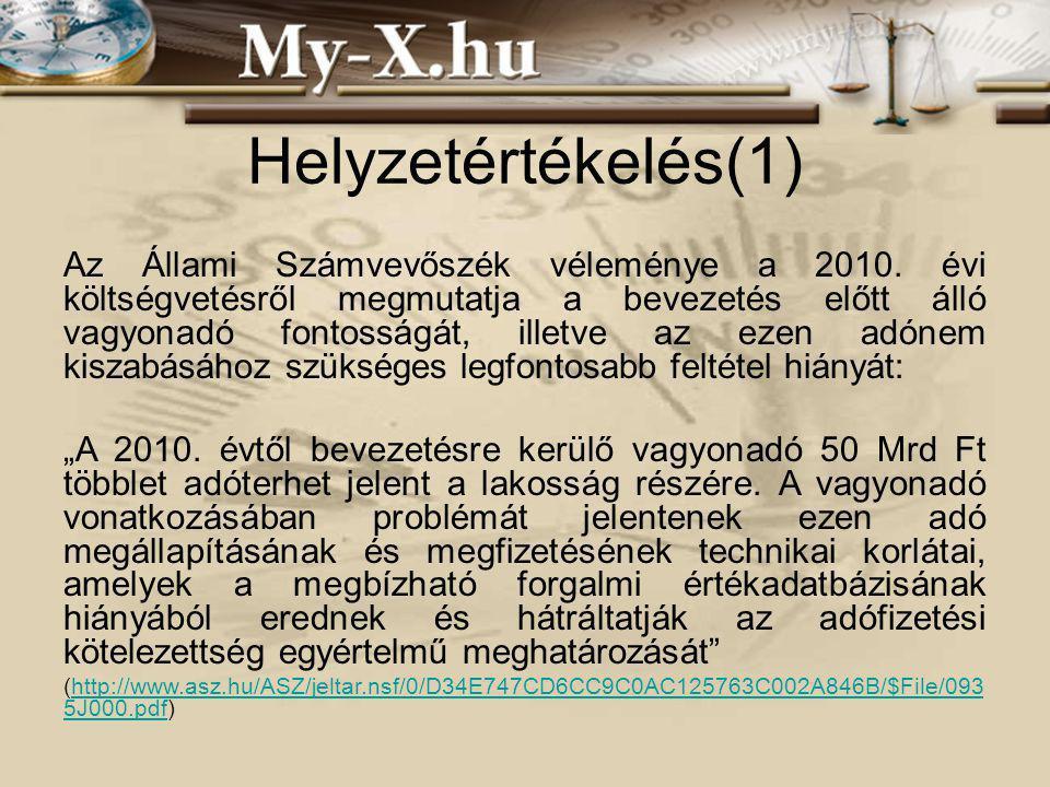 INNOCSEKK 156/2006 Helyzetértékelés(1) Az Állami Számvevőszék véleménye a 2010.