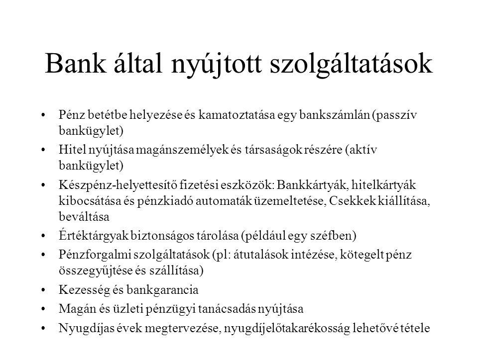 Bank által nyújtott szolgáltatások Pénz betétbe helyezése és kamatoztatása egy bankszámlán (passzív bankügylet) Hitel nyújtása magánszemélyek és társa