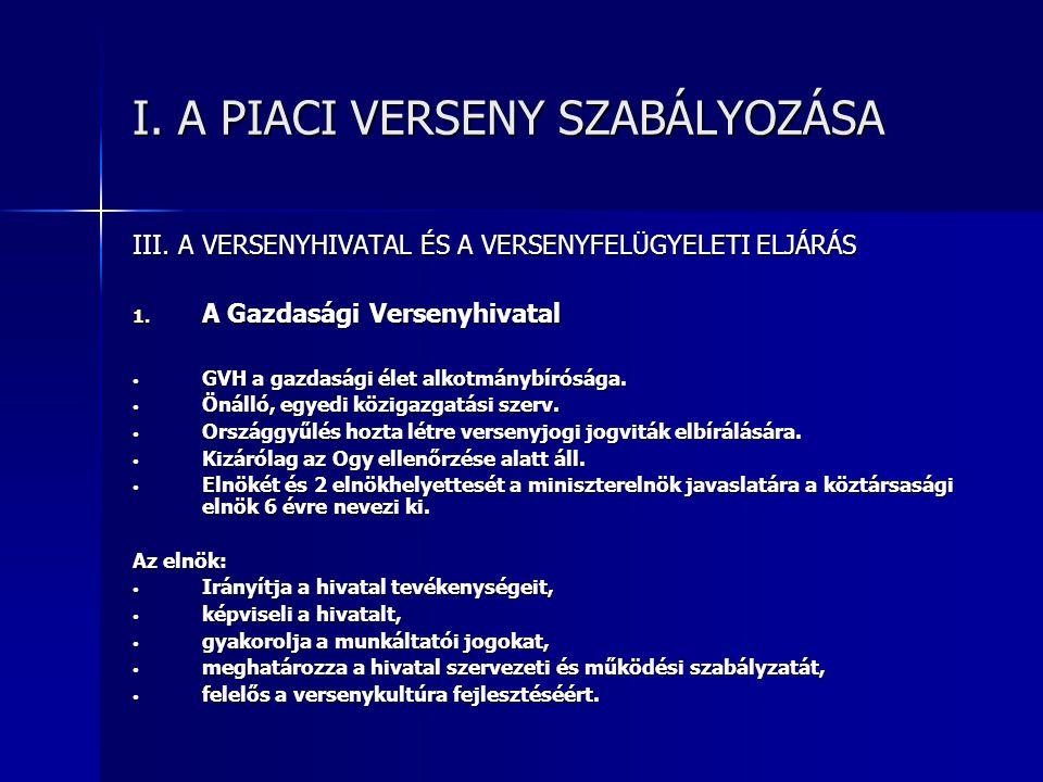 I.A PIACI VERSENY SZABÁLYOZÁSA III. A VERSENYHIVATAL ÉS A VERSENYFELÜGYELETI ELJÁRÁS 1.