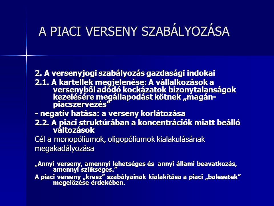 A PIACI VERSENY SZABÁLYOZÁSA A PIACI VERSENY SZABÁLYOZÁSA A magyar versenyjogi szabályozás áttekintése 1.
