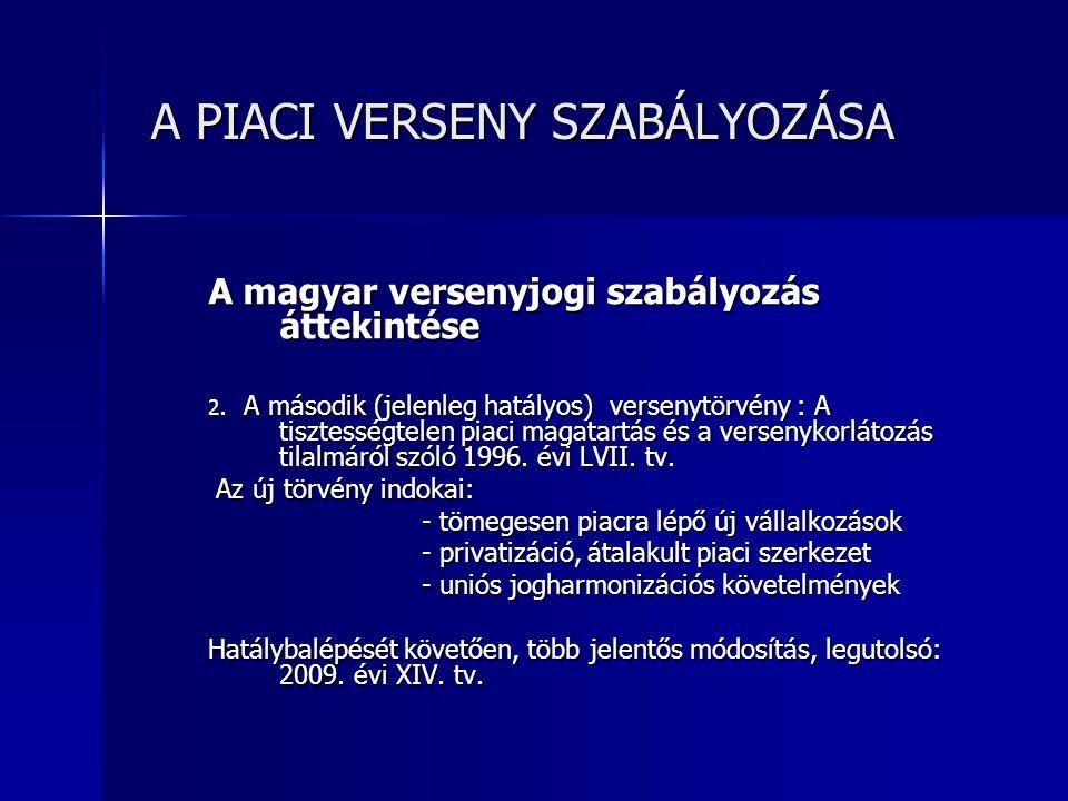 A PIACI VERSENY SZABÁLYOZÁSA A PIACI VERSENY SZABÁLYOZÁSA A hatályos versenytörvény szerkezete 1.