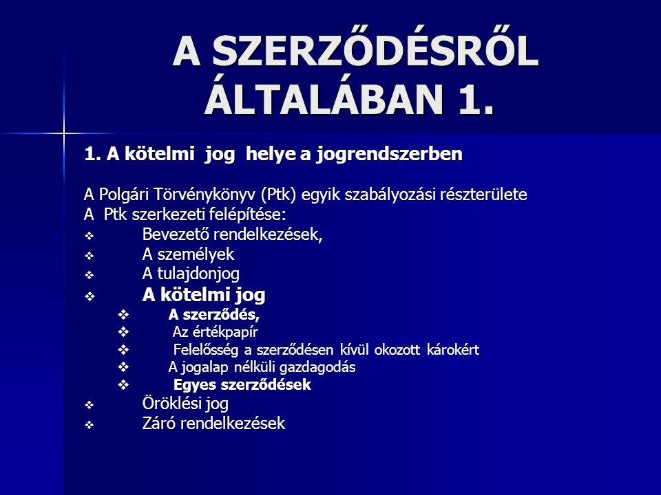 A SZERZŐDÉSRŐL ÁLTALÁBAN 1.A SZERZŐDÉSRŐL ÁLTALÁBAN 1.