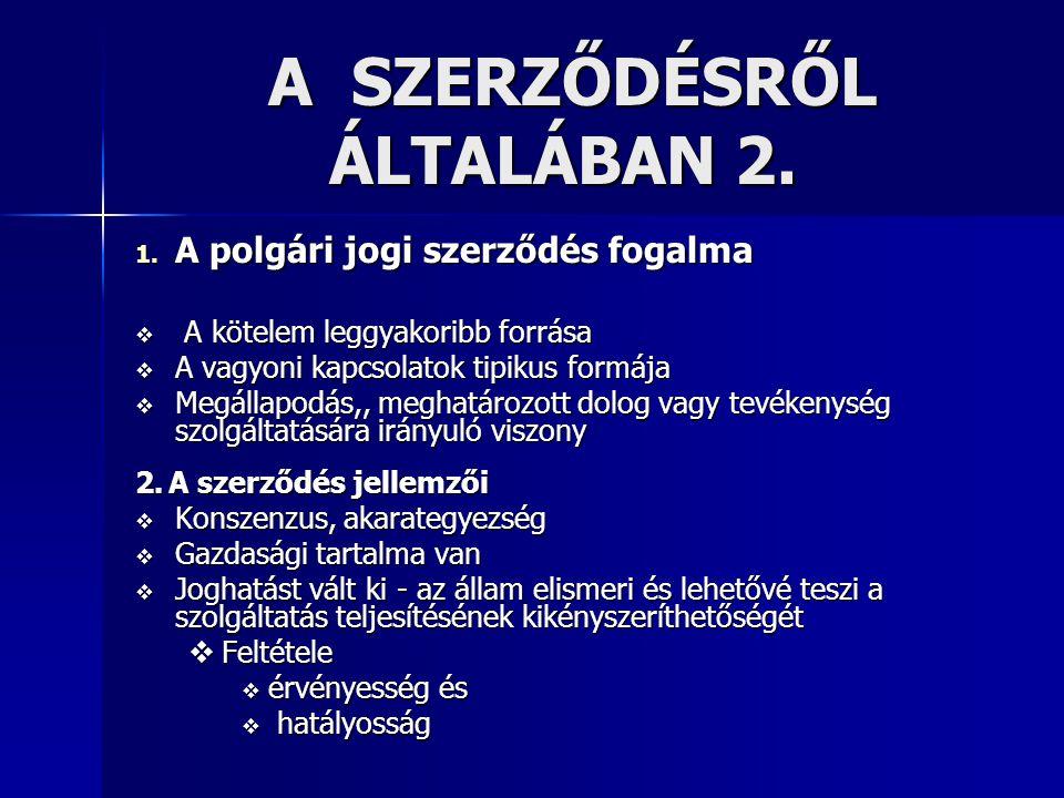 A SZERZŐDÉSRŐL ÁLTALÁBAN 2.A SZERZŐDÉSRŐL ÁLTALÁBAN 2.
