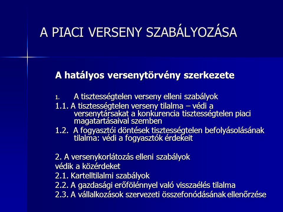 A PIACI VERSENY SZABÁLYOZÁSA A PIACI VERSENY SZABÁLYOZÁSA A hatályos versenytörvény szerkezete 3.