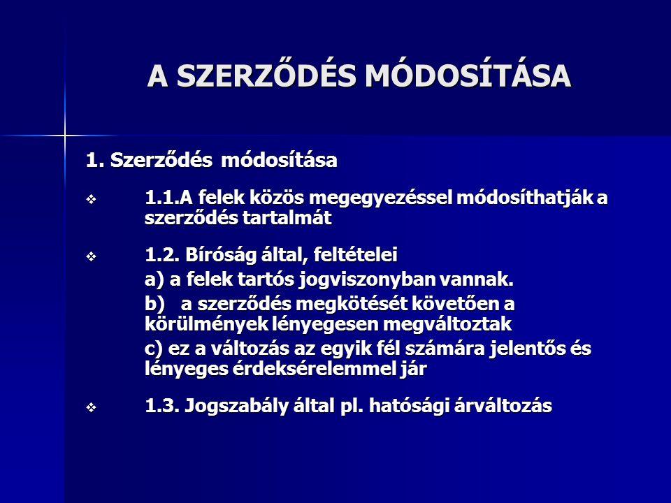 A SZERZŐDÉS MÓDOSÍTÁSA A SZERZŐDÉS MÓDOSÍTÁSA 1.