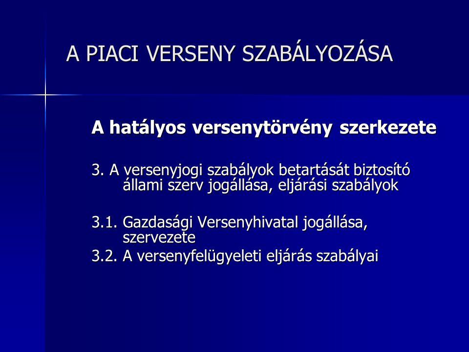 A PIACI VERSENY SZABÁLYOZÁSA A PIACI VERSENY SZABÁLYOZÁSA A versenytörvény hatálya A törvény hatályai kiterjed a természetes és jogi személyeknek valamint a jogi személyiség nélküli gazdasági társaságnak a Magyar Köztársaság területén tanúsított piaci magatartására, továbbá a vállalkozás külföldön tanúsított piaci magatartása is, ha annak hatása a Magyar Köztársaság területén érvényesül 1.