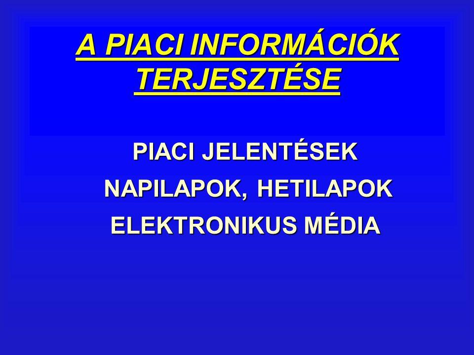 A PIACI INFORMÁCIÓK TERJESZTÉSE PIACI JELENTÉSEK NAPILAPOK, HETILAPOK ELEKTRONIKUS MÉDIA NAPILAPOK, HETILAPOK ELEKTRONIKUS MÉDIA