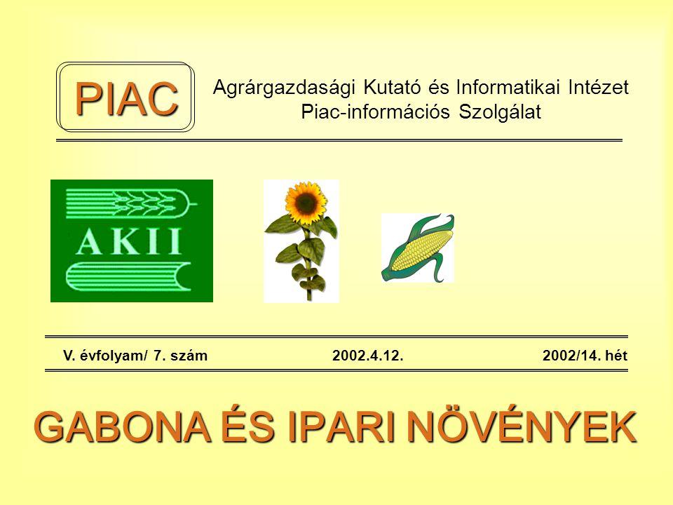 Agrárgazdasági Kutató és Informatikai Intézet Piac-információs Szolgálat V.