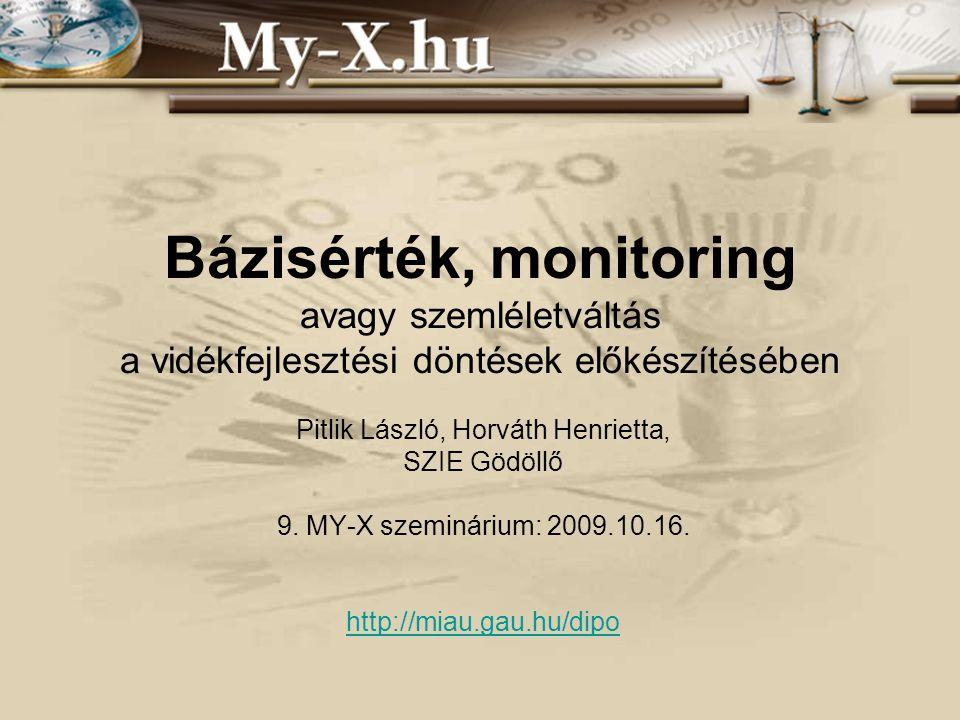 Bázisérték, monitoring avagy szemléletváltás a vidékfejlesztési döntések előkészítésében Pitlik László, Horváth Henrietta, SZIE Gödöllő 9.