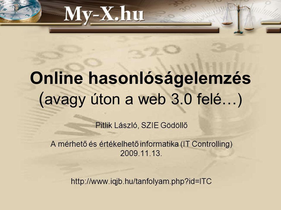 Online hasonlóságelemzés ( avagy úton a web 3.0 felé…) Pitlik László, SZIE Gödöllő A mérhető és értékelhető informatika (IT Controlling) 2009.11.13.