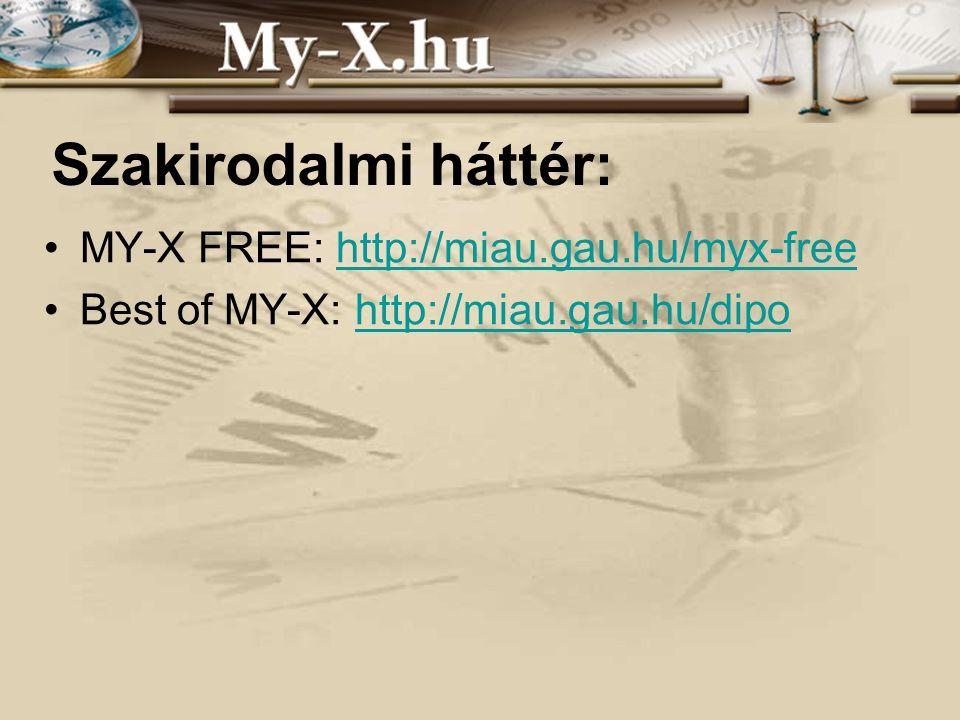 INNOCSEKK 156/2006 Szakirodalmi háttér: MY-X FREE: http://miau.gau.hu/myx-freehttp://miau.gau.hu/myx-free Best of MY-X: http://miau.gau.hu/dipohttp://miau.gau.hu/dipo