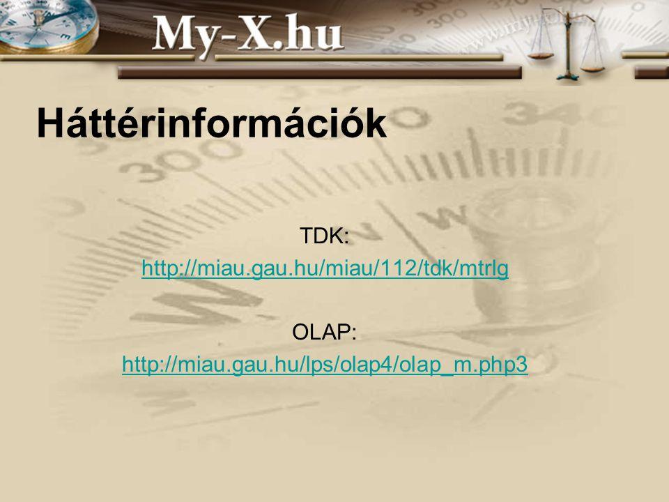 INNOCSEKK 156/2006 Háttérinformációk TDK: http://miau.gau.hu/miau/112/tdk/mtrlg OLAP: http://miau.gau.hu/lps/olap4/olap_m.php3