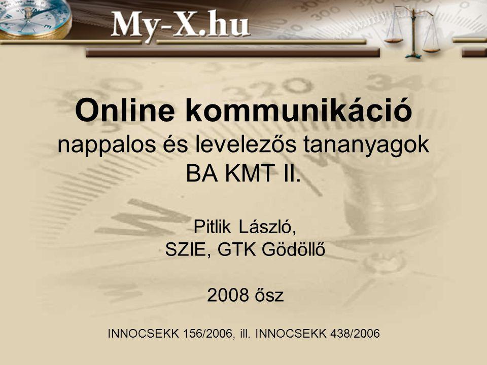 INNOCSEKK 156/2006 Tematika Fogalmi szint: minden, ami online Súlypont: üzleti hasznosság Didaktika: –Kontaktóra: készségfejlesztés, szemlélet- formálás –(MIAU_)WIKI: önképzés (fogalmi szint) –Önálló feladat: készségfejlesztés Szint: hallgatói kompetenciáktól függő