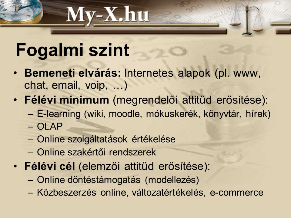 INNOCSEKK 156/2006 Fogalmi szint Bemeneti elvárás: Internetes alapok (pl.