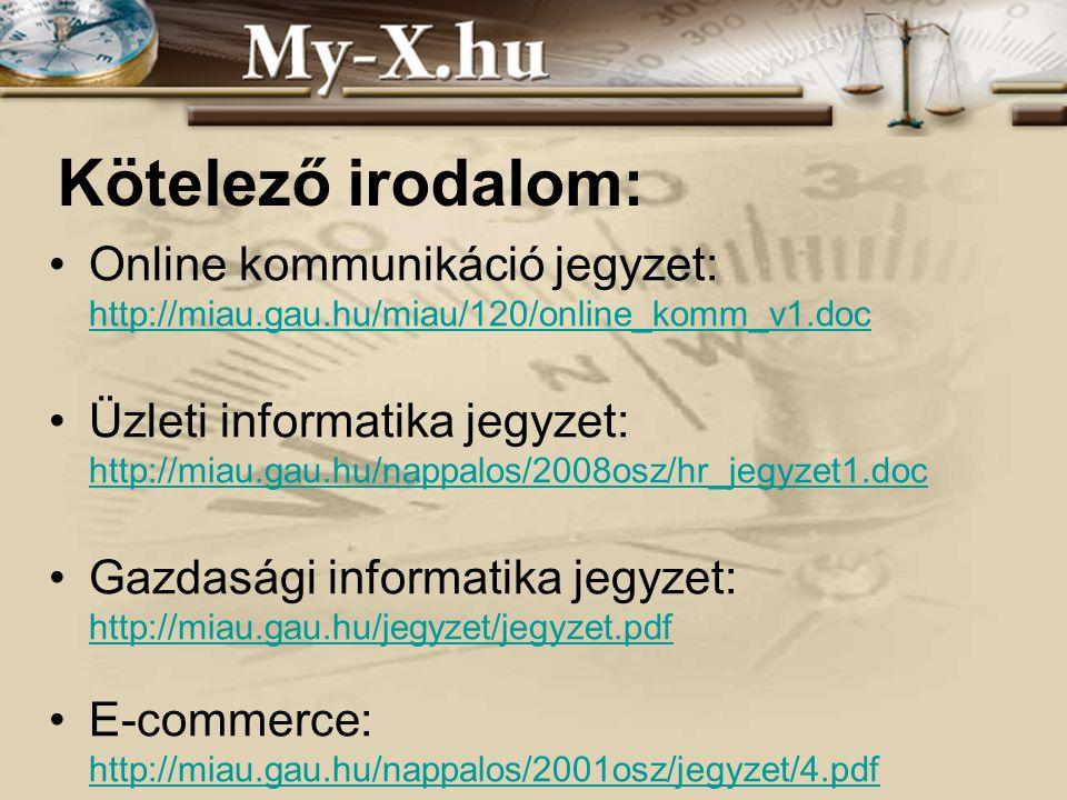 INNOCSEKK 156/2006 Kötelező irodalom: Online kommunikáció jegyzet: http://miau.gau.hu/miau/120/online_komm_v1.doc Üzleti informatika jegyzet: http://miau.gau.hu/nappalos/2008osz/hr_jegyzet1.doc Gazdasági informatika jegyzet: http://miau.gau.hu/jegyzet/jegyzet.pdf E-commerce: http://miau.gau.hu/nappalos/2001osz/jegyzet/4.pdf