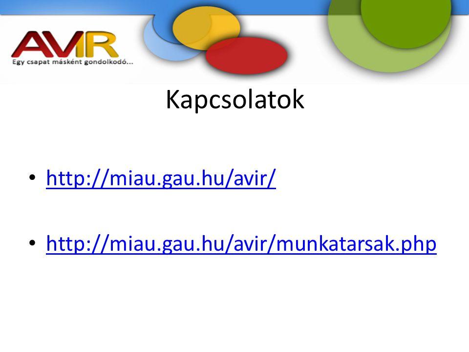 Kapcsolatok http://miau.gau.hu/avir/ http://miau.gau.hu/avir/munkatarsak.php