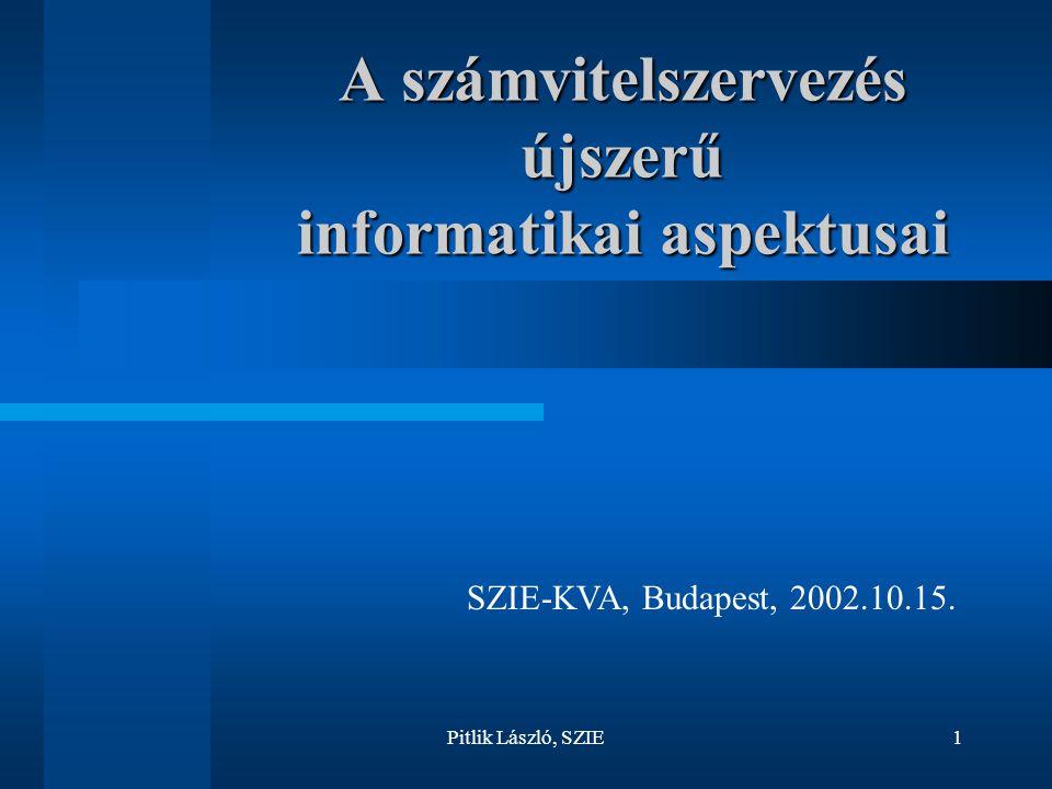 Pitlik László, SZIE1 A számvitelszervezés újszerű informatikai aspektusai SZIE-KVA, Budapest, 2002.10.15.