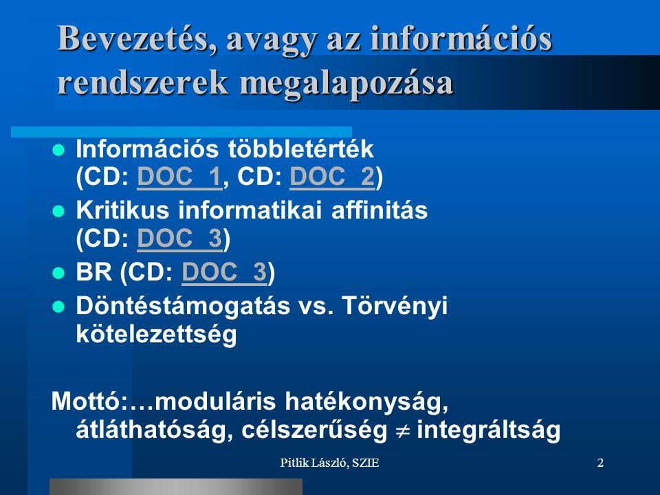 Pitlik László, SZIE2 Bevezetés, avagy az információs rendszerek megalapozása Információs többletérték (CD: DOC_1, CD: DOC_2)DOC_1DOC_2 Kritikus inform