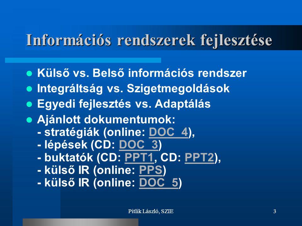 Pitlik László, SZIE3 Információs rendszerek fejlesztése Külső vs. Belső információs rendszer Integráltság vs. Szigetmegoldások Egyedi fejlesztés vs. A