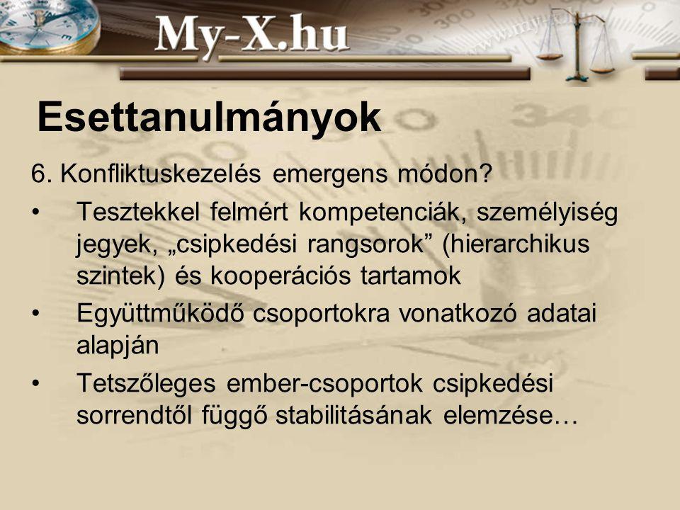 INNOCSEKK 156/2006 Esettanulmányok 6. Konfliktuskezelés emergens módon.