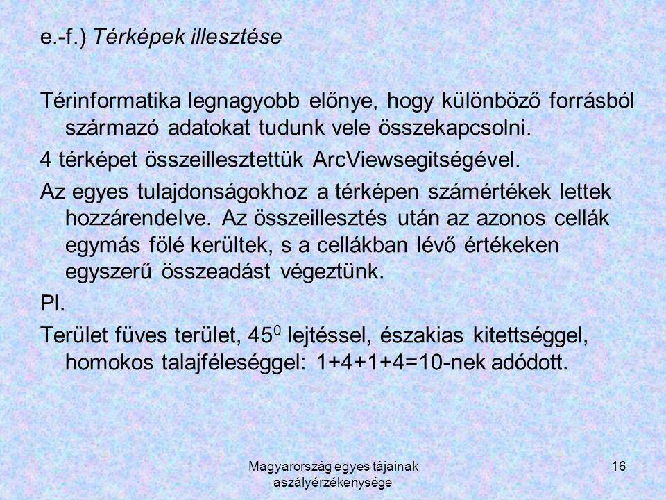 Magyarország egyes tájainak aszályérzékenysége 16 e.-f.) Térképek illesztése Térinformatika legnagyobb előnye, hogy különböző forrásból származó adatokat tudunk vele összekapcsolni.