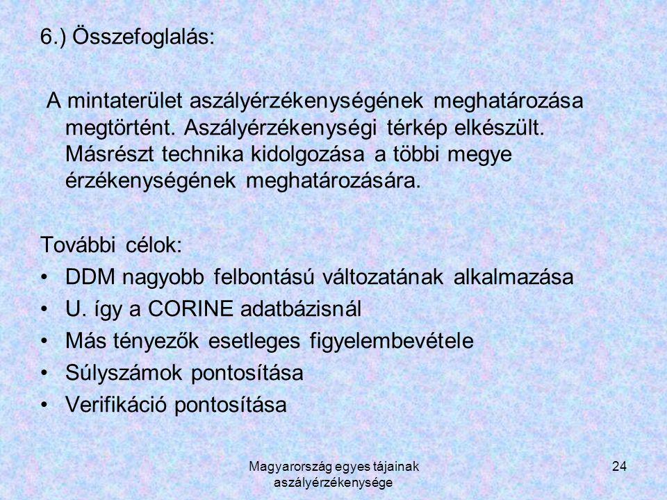 Magyarország egyes tájainak aszályérzékenysége 24 6.) Összefoglalás: A mintaterület aszályérzékenységének meghatározása megtörtént.