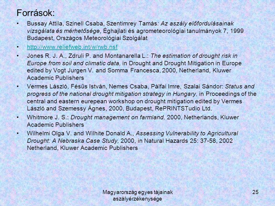 Magyarország egyes tájainak aszályérzékenysége 25 Források: Bussay Attila, Szinell Csaba, Szentimrey Tamás: Az aszály előfordulásainak vizsgálata és mérhetősége, Éghajlati és agrometeorológiai tanulmányok 7, 1999 Budapest, Országos Meteorológiai Szolgálat http://www.reliefweb.int/w/rwb.nsf Jones R.