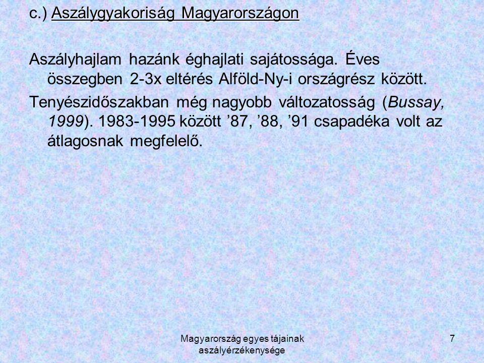 Magyarország egyes tájainak aszályérzékenysége 7 Aszálygyakoriság Magyarországon c.) Aszálygyakoriság Magyarországon Aszályhajlam hazánk éghajlati sajátossága.
