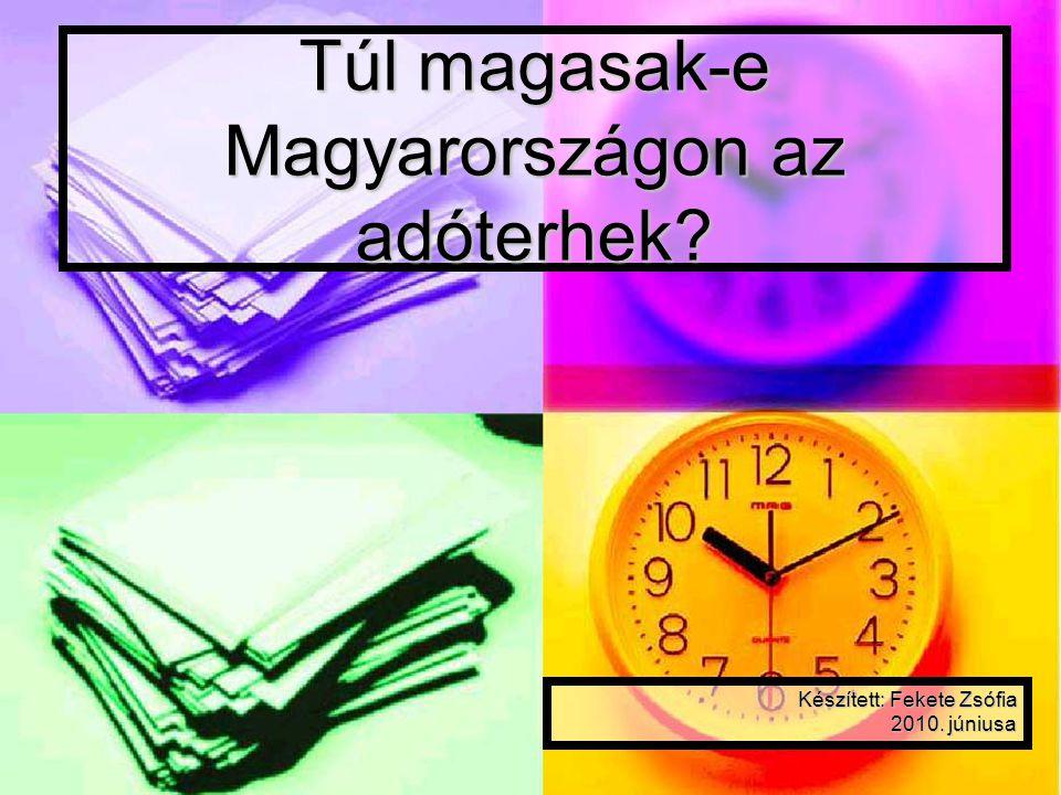 Túl magasak-e Magyarországon az adóterhek? Készített: Fekete Zsófia 2010. júniusa