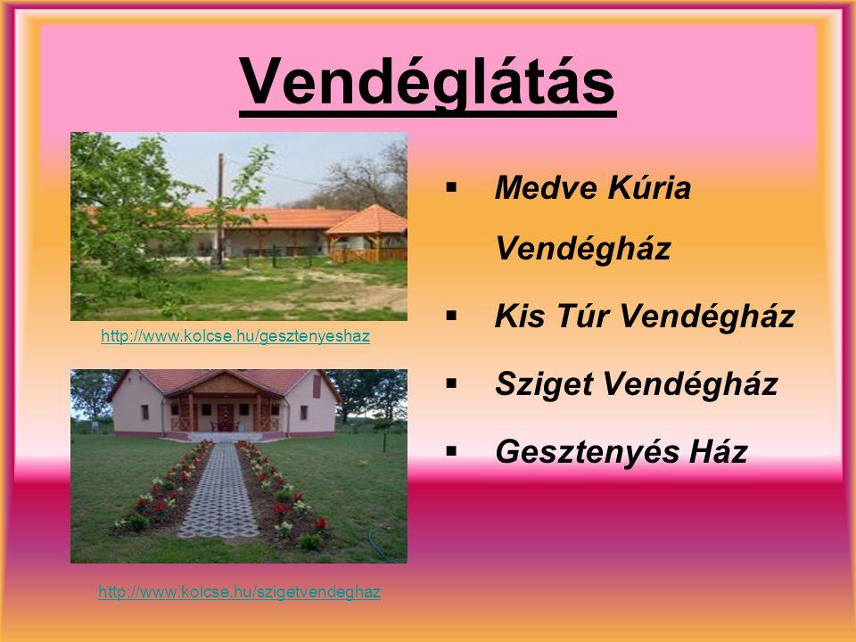 Vendéglátás  Medve Kúria Vendégház  Kis Túr Vendégház  Sziget Vendégház  Gesztenyés Ház http://www.kolcse.hu/gesztenyeshaz http://www.kolcse.hu/sz