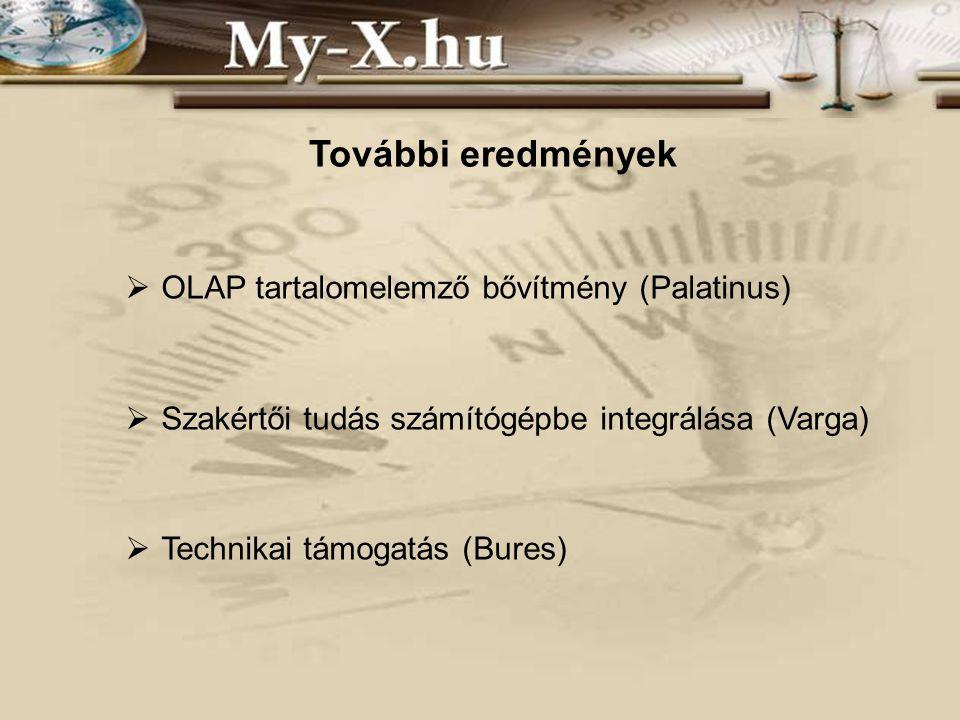 További eredmények  OLAP tartalomelemző bővítmény (Palatinus)  Szakértői tudás számítógépbe integrálása (Varga)  Technikai támogatás (Bures)