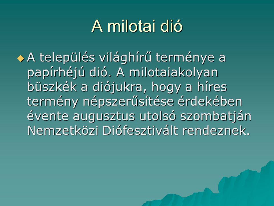 A milotai dió  A település világhírű terménye a papírhéjú dió. A milotaiakolyan büszkék a diójukra, hogy a híres termény népszerűsítése érdekében éve