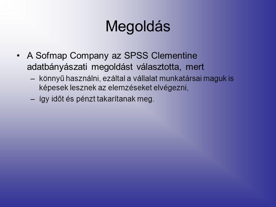 Megoldás A Sofmap Company az SPSS Clementine adatbányászati megoldást választotta, mert –könnyű használni, ezáltal a vállalat munkatársai maguk is képesek lesznek az elemzéseket elvégezni, –így időt és pénzt takarítanak meg.