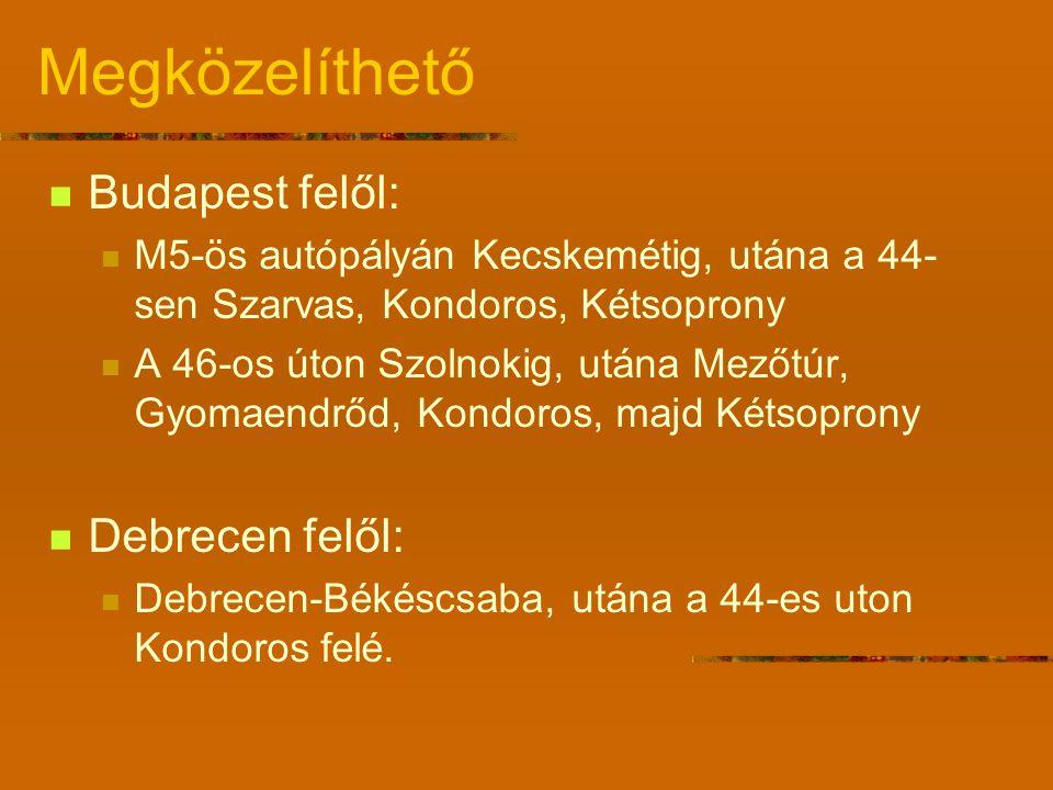 Megközelíthető Budapest felől: M5-ös autópályán Kecskemétig, utána a 44- sen Szarvas, Kondoros, Kétsoprony A 46-os úton Szolnokig, utána Mezőtúr, Gyomaendrőd, Kondoros, majd Kétsoprony Debrecen felől: Debrecen-Békéscsaba, utána a 44-es uton Kondoros felé.