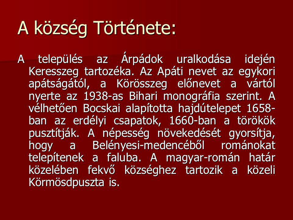 A község Története: A település az Árpádok uralkodása idején Keresszeg tartozéka. Az Apáti nevet az egykori apátságától, a Körösszeg előnevet a vártól