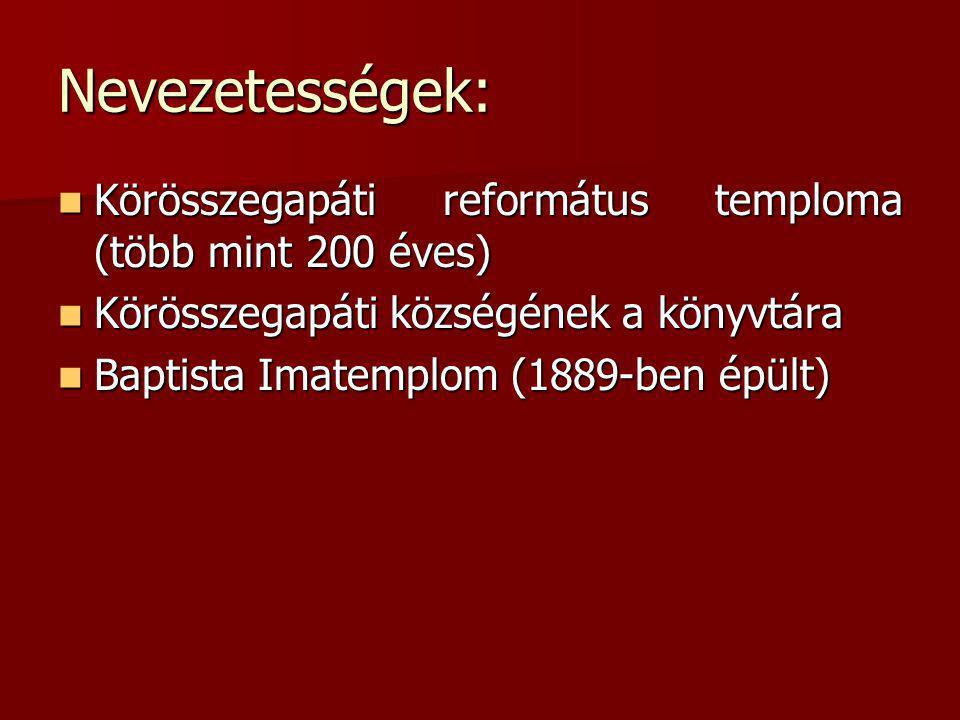 Nevezetességek: Körösszegapáti református temploma (több mint 200 éves) Körösszegapáti református temploma (több mint 200 éves) Körösszegapáti községé