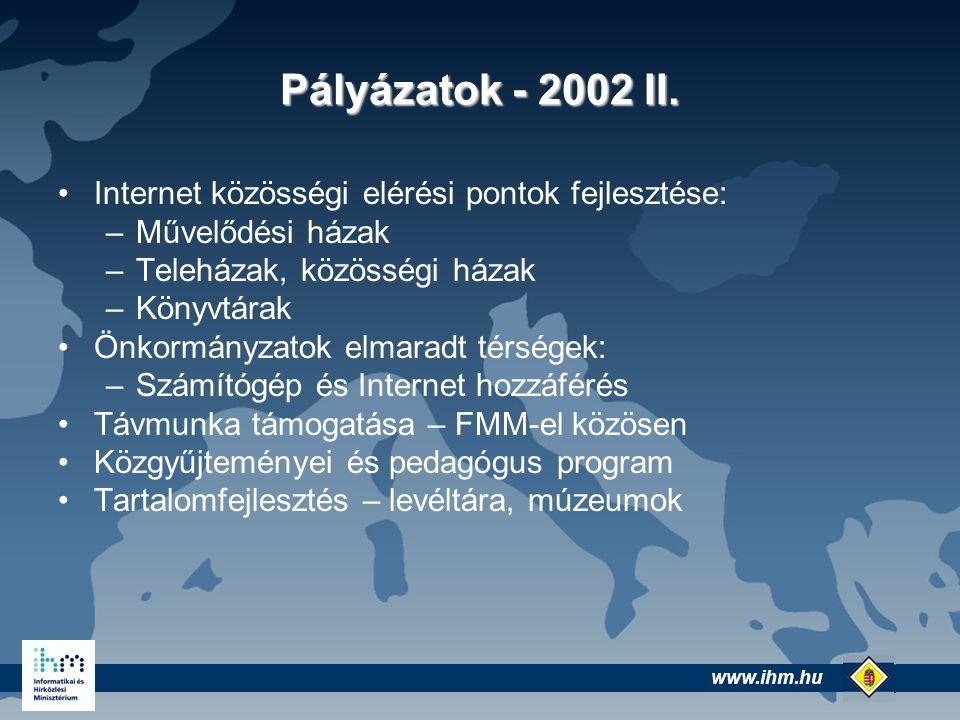 www.ihm.hu @ Infrastruktúra - jelenlegi helyzet Alacsony számítógép ellátottság Alacsony vidéki Internet penetráció Jelentős lemaradás az EU elvárásoktól Európai színvonalú kutatási hálózat (NIIF)