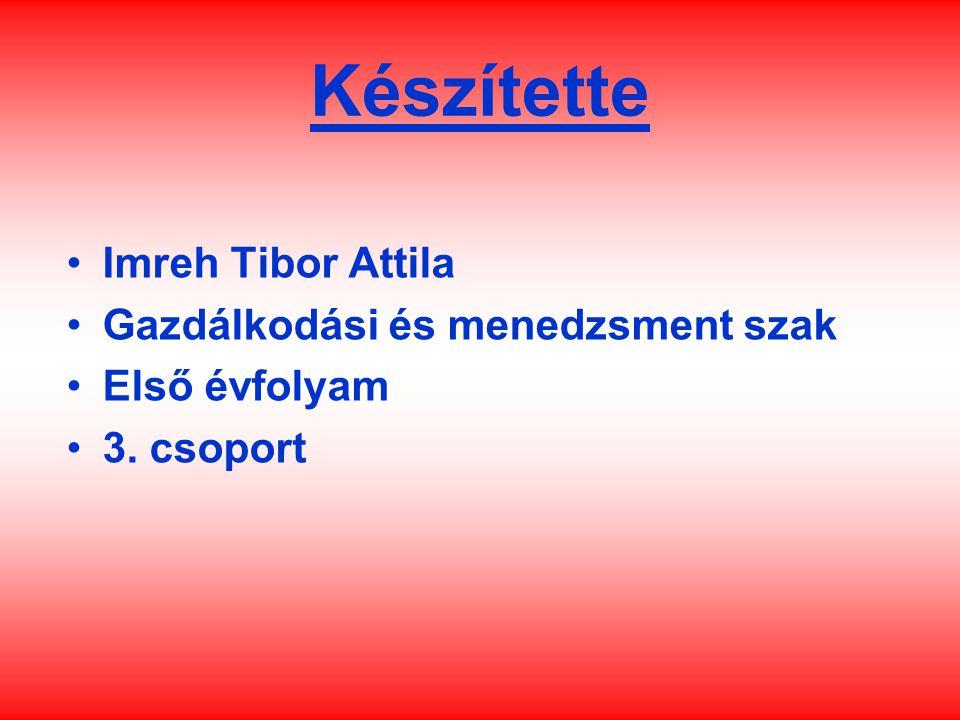 Készítette Imreh Tibor Attila Gazdálkodási és menedzsment szak Első évfolyam 3. csoport