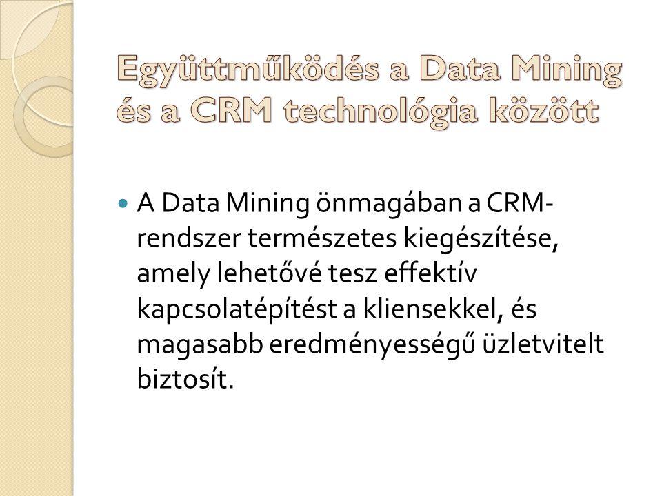 A D ata M ining önmagában a CRM- rendszer természetes kiegészítése, amely lehetővé tesz effektív kapcsolatépítést a kliensekkel, és magasabb eredményességű üzletvitelt biztosít.