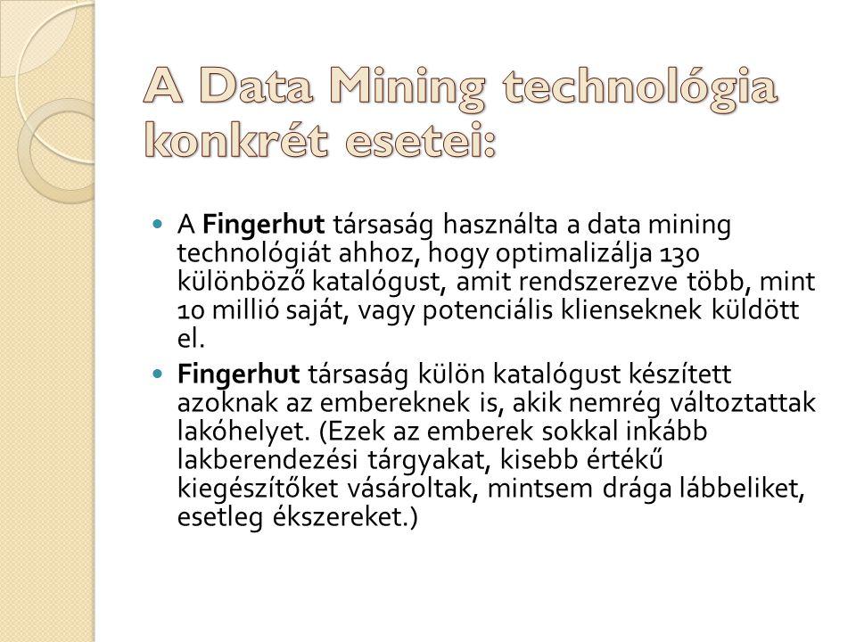 A Fingerhut társaság használta a data mining technológiát ahhoz, hogy optimalizálja 130 különböző katalógust, amit rendszerezve több, mint 10 millió saját, vagy potenciális klienseknek küldött el.