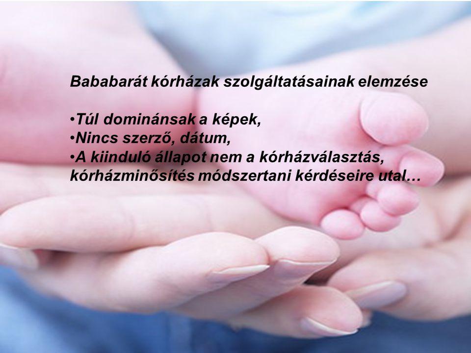 Bababarát kórházak szolgáltatásainak elemzése Túl dominánsak a képek, Nincs szerző, dátum, A kiinduló állapot nem a kórházválasztás, kórházminősítés módszertani kérdéseire utal…