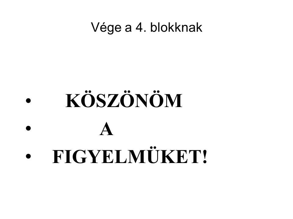 Vége a 4. blokknak KÖSZÖNÖM A FIGYELMÜKET!