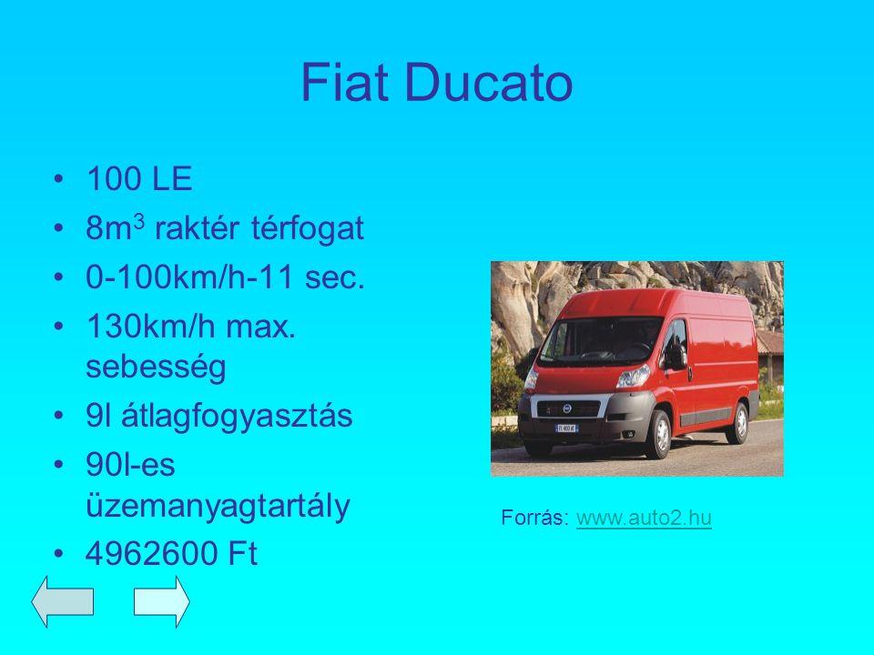 Fiat Ducato 100 LE 8m 3 raktér térfogat 0-100km/h-11 sec. 130km/h max. sebesség 9l átlagfogyasztás 90l-es üzemanyagtartály 4962600 Ft Forrás: www.auto